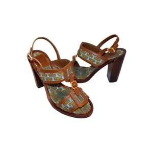 Florian Aztec Woven Leather Chunky Sandals